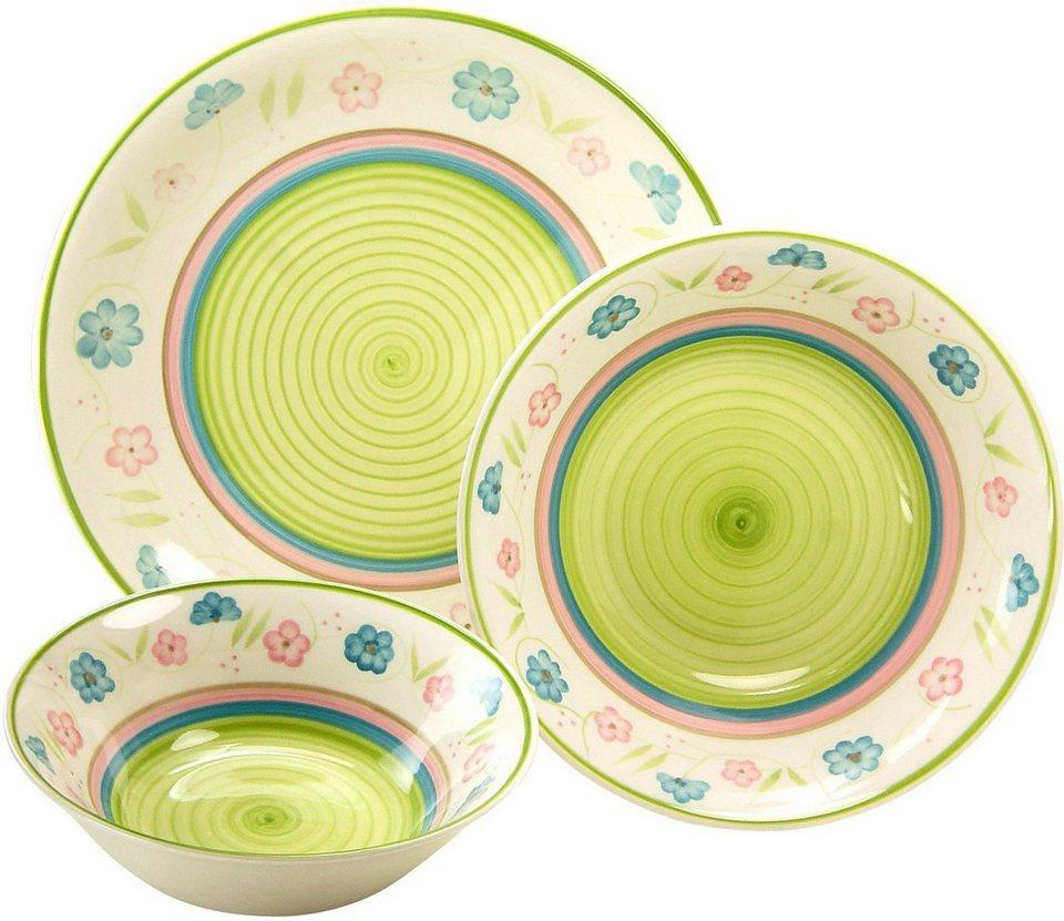 CreaTable Servier-Set, Steingut, 3 Teile, »Flower Serenade Pastell« in pastellfarben