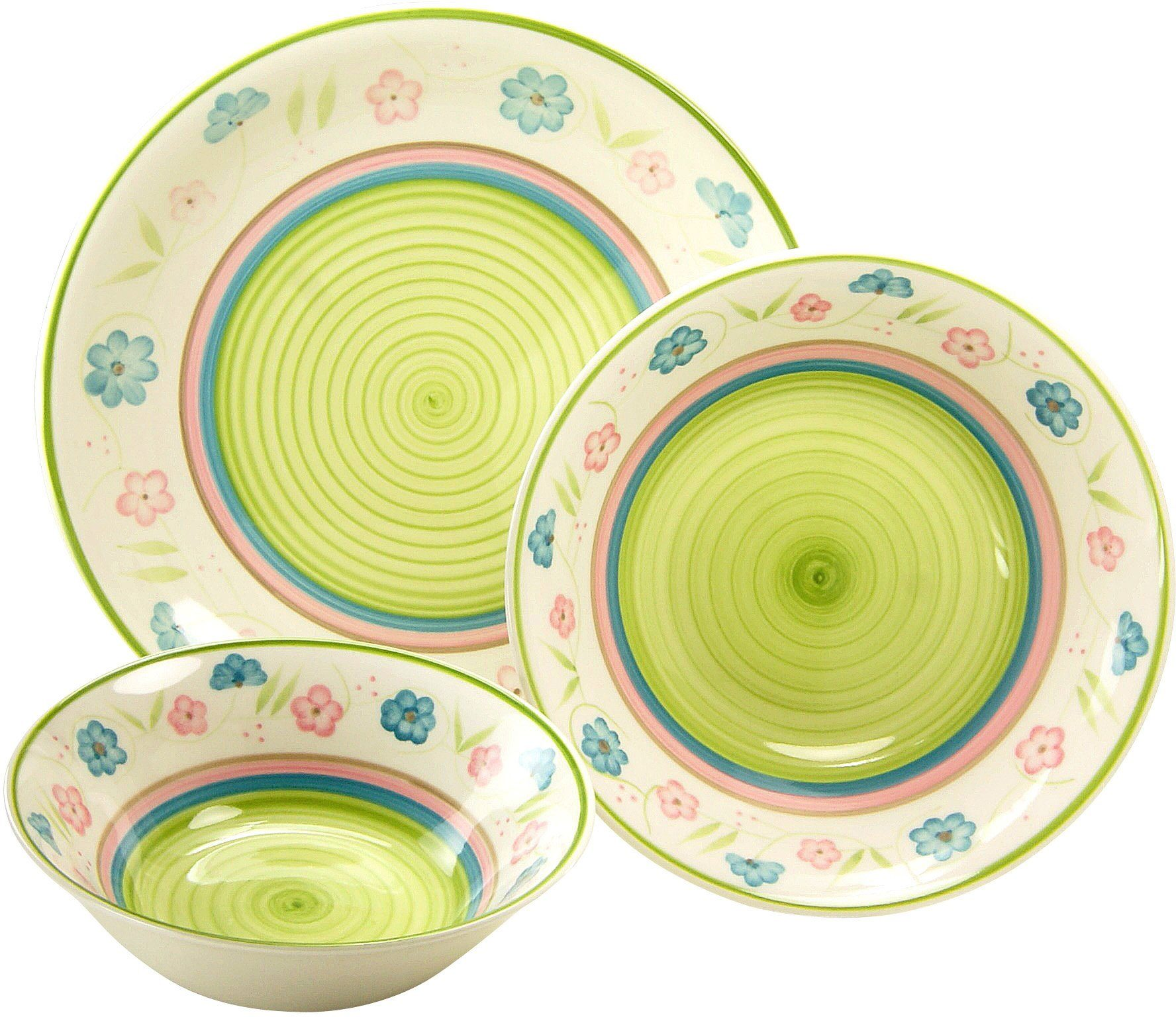 CreaTable Servier-Set, Steingut, 3 Teile, »Flower Serenade Pastell«
