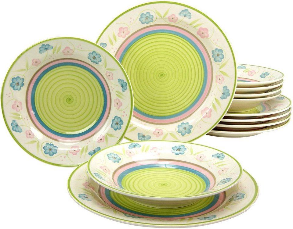 CreaTable Tafelservice, Steingut, 12 Teile, »Flower Serenade Pastell« in pastellfarben