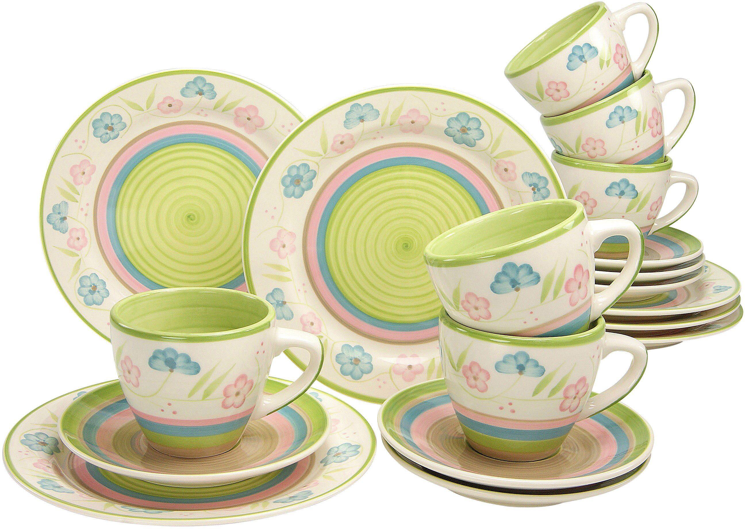CreaTable Kaffeeservice, Steingut, 18 Teile, »Flower Serenade Pastell«