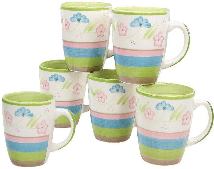 CreaTable Kaffeebecher, Steingut, 6 Teile, »Flower Serenade Pastell«