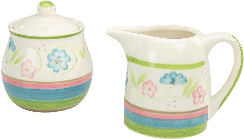 CreaTable Milch/Zucker-Set, Steingut, 2 Teile, »Flower Serenade Pastell«