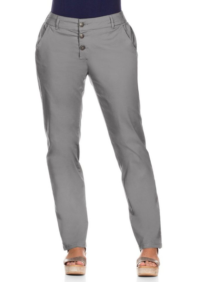 sheego Casual Gerade Stretch-Hose mit Knopfleiste in steingrau