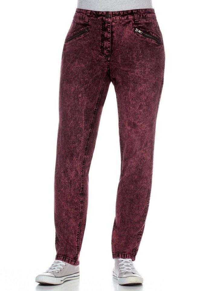 sheego Denim Schmale Stretch-Jeans im Colored Denim-Look in weinrot