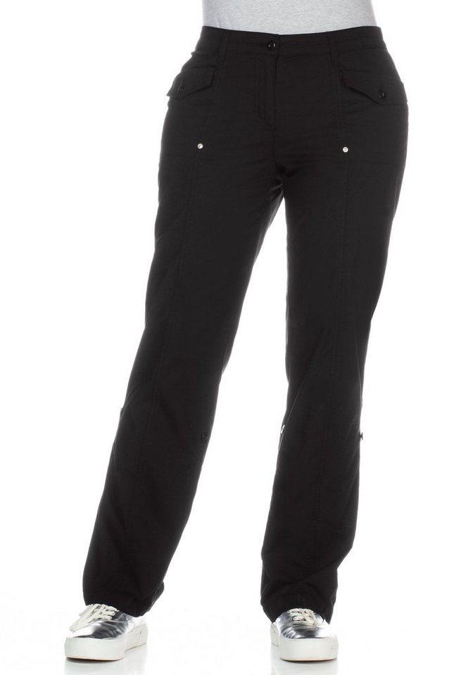 sheego Casual Stretch-Hose mit Krempelfunktion in schwarz
