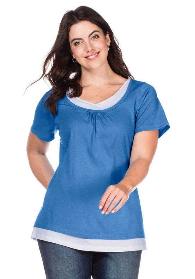 sheego Casual T-Shirt in 2-in-1-Optik in mittelblau