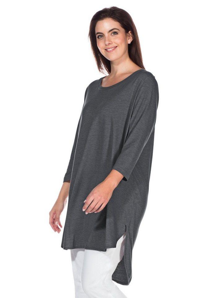 sheego Casual Longshirt in Oversize-Form in grau meliert