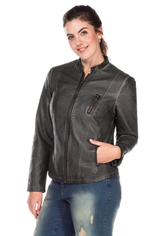 sheego Casual Lederimitat-Jacke in grau