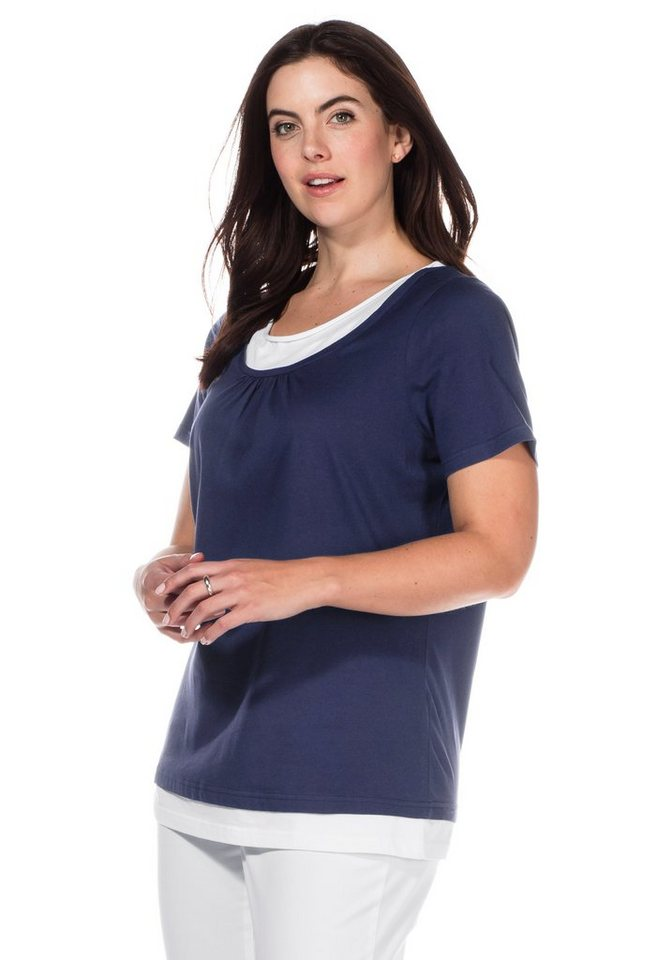 sheego Casual T-Shirt in 2-in-1-Optik in marine