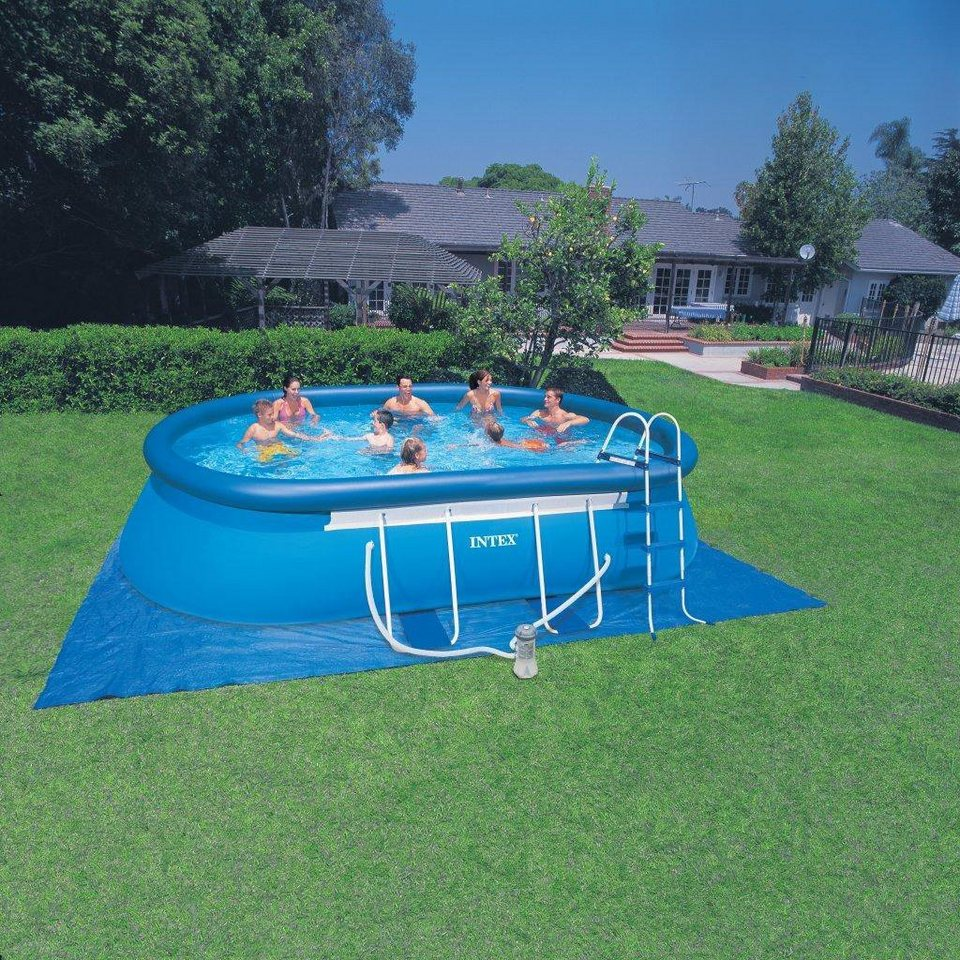 Intex Pool-Set, mit Kartuschenfilteranlage, 549 x 305 x 107 cm, »Oval Frame Pool Set-Komplettset« in blau