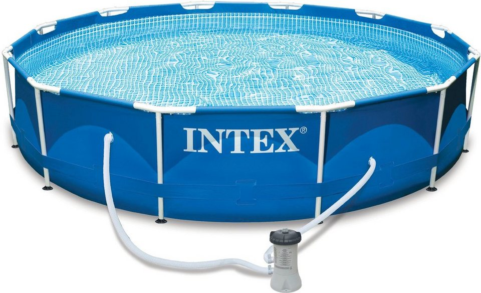intex pool set mit kartuschenfilteranlage 457x84 cm metal frame pool rondo komplettset. Black Bedroom Furniture Sets. Home Design Ideas