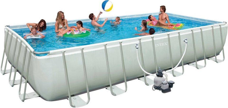 Intex pool set mit sandfilteranlage 732 366 132 cm for Pool aufblasbar eckig