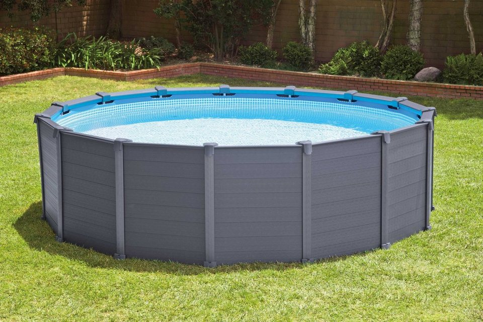 Intex pool set mit sandfilteranlage 478 cm graphite for Pool 457x122 mit sandfilteranlage