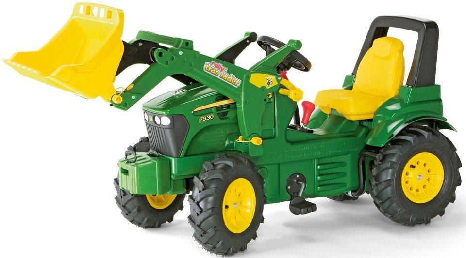 rolly toys® Trettraktor mit Frontlader und Luftbereifung »rolly Farmtrac JD 7930« in grün-gelb