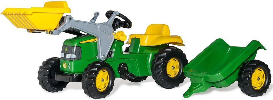 rolly toys® Trettraktor mit Frontlader und Anhänger »rollyKid John Deere« in grün-gelb