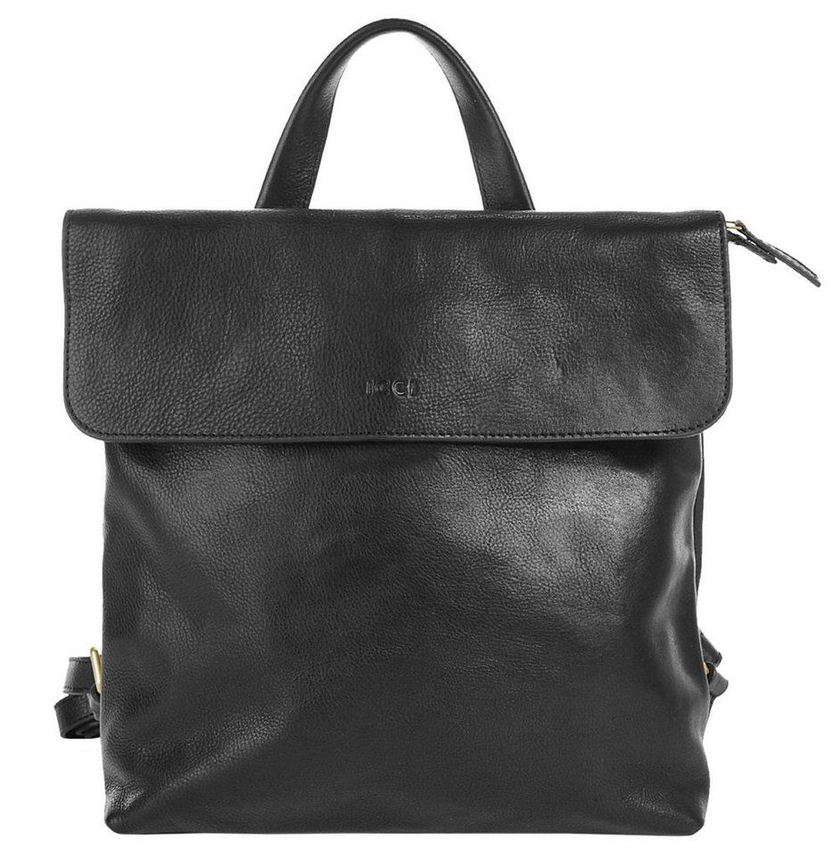 WouWou Leder Damen Rucksack in schwarz