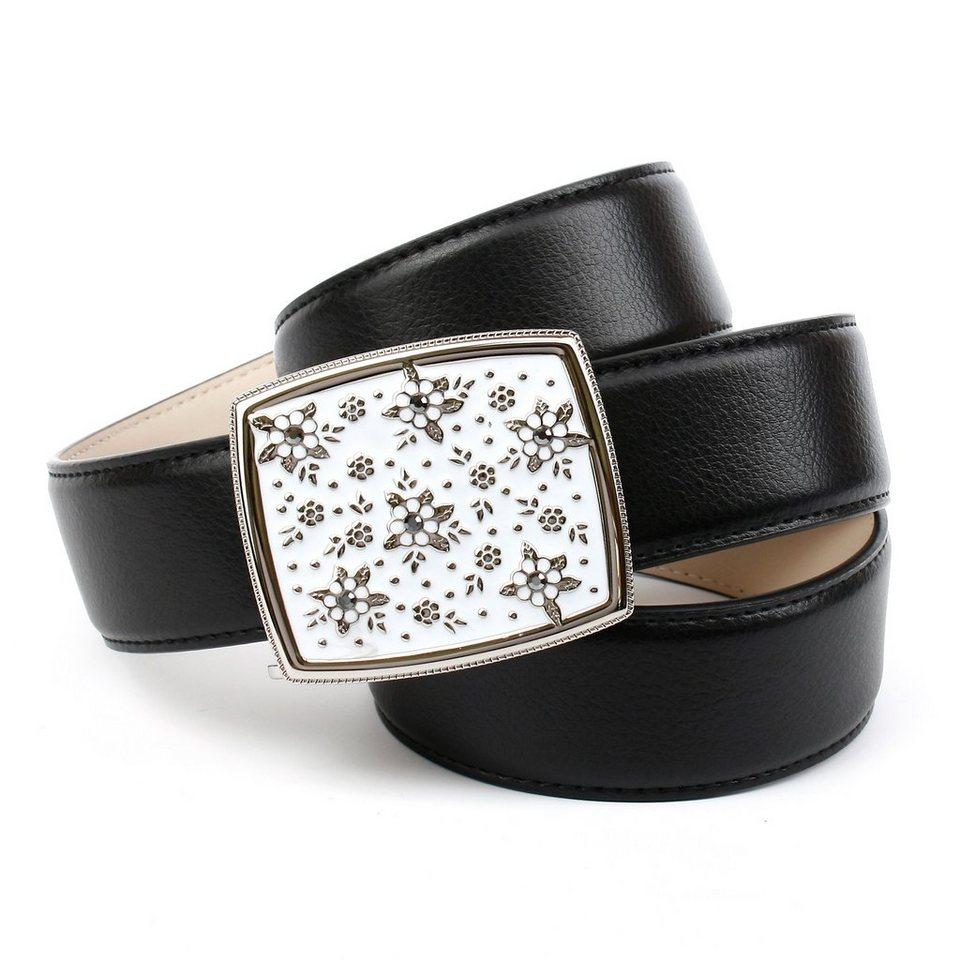 Anthoni Crown Jeansgürtel mit handmade Glasur-Schließe in Schwarz