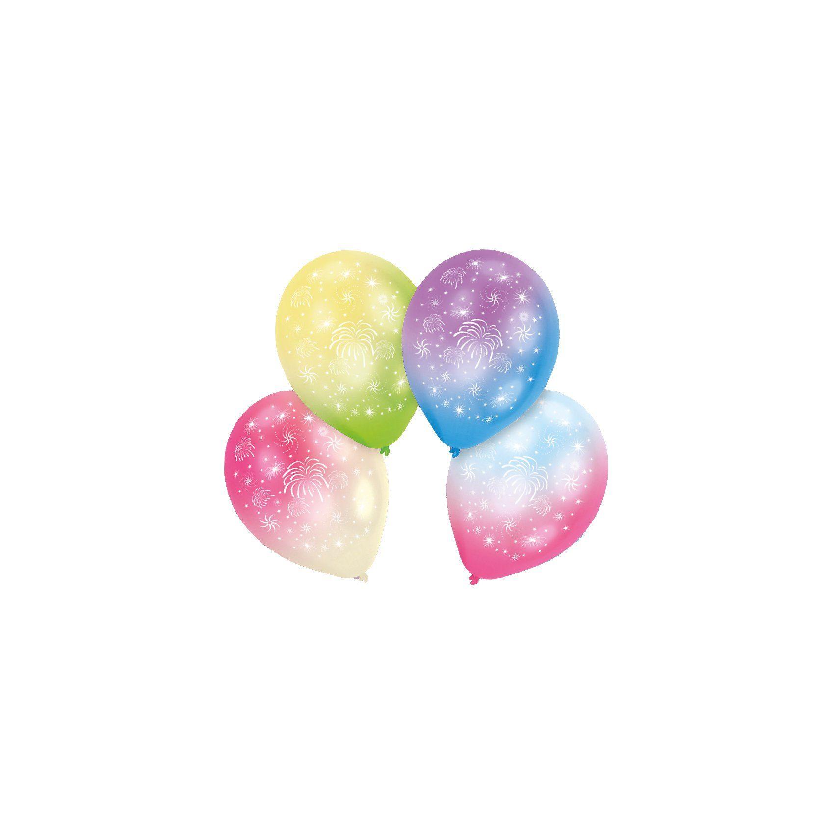 Amscan LED Luftballons Feuerwerk, 4 Stück