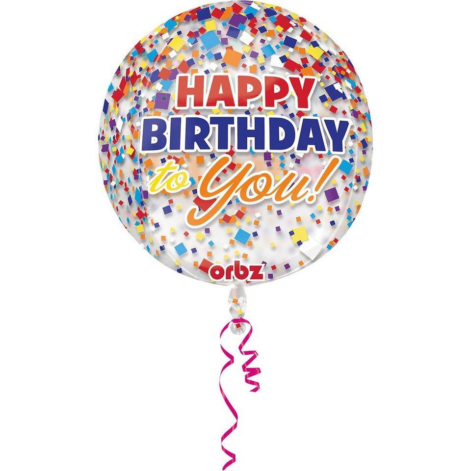 Amscan Folienballon Orbz Konfetti Happy Birthday
