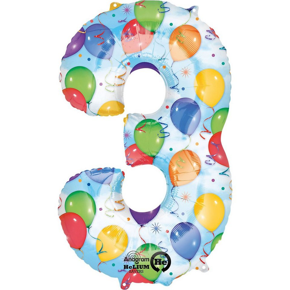 Amscan Folienballon Zahl 3