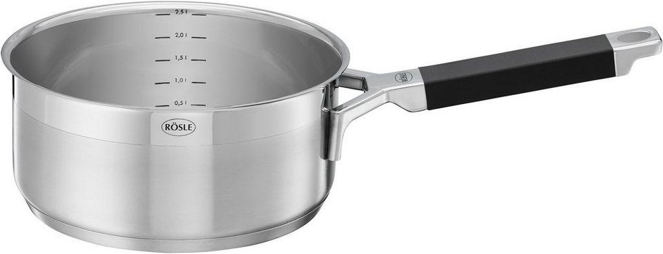 RÖSLE Stielkasserolle, Induktion, Ø 16 cm, »SILENCE« in edelstahlfarben/schwarz
