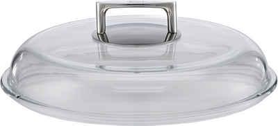 RÖSLE Deckel »SILENCE«, (1-tlg), Glasdeckel mit Griff aus Edelstahl, Zubehör für Bratpfannen, temperaturbeständig bis 260°C, spülmaschinengeeignet