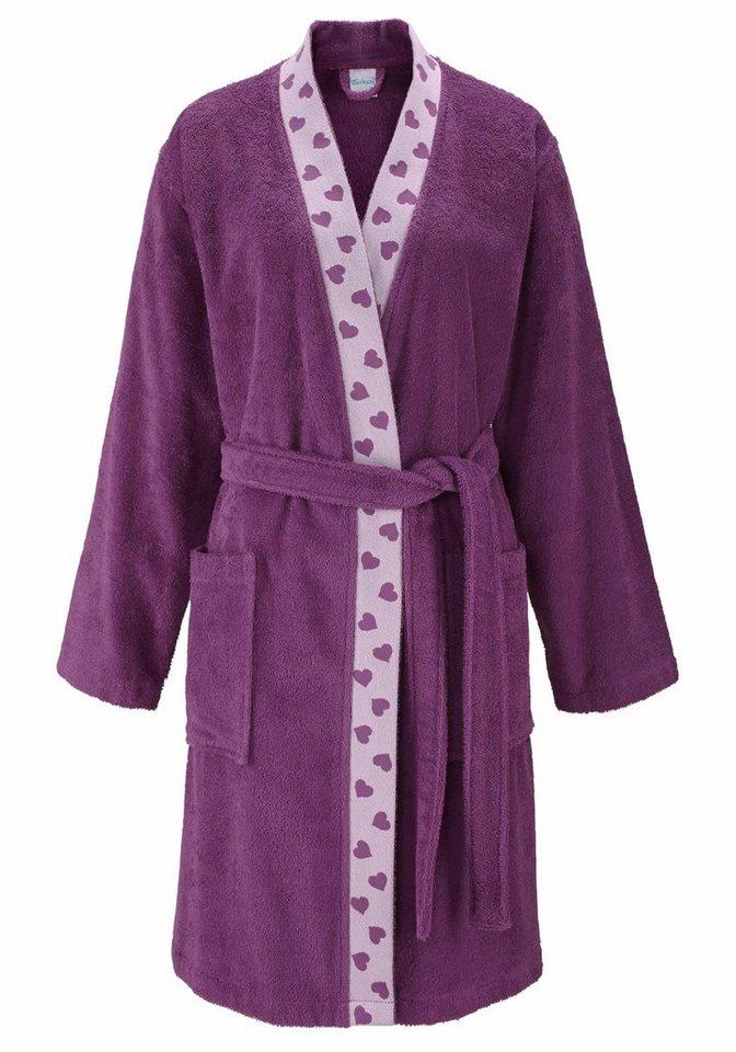 Damenbademantel, my home, »Mia«, mit Herzchenbordüre in violett