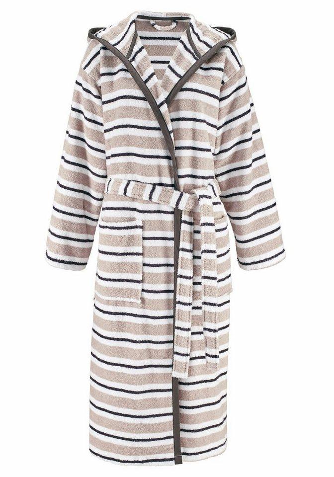 Damenbademantel, my home, »Vivien«, mit mehrfarbigen Querstreifen in grau-weiß