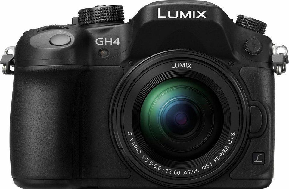 Lumix Panasonic DMC-GH4MEG-K System Kamera, H-FS12060 Zoom, 16 Megapixel, 7,5 cm (3 Zoll) Display in schwarz
