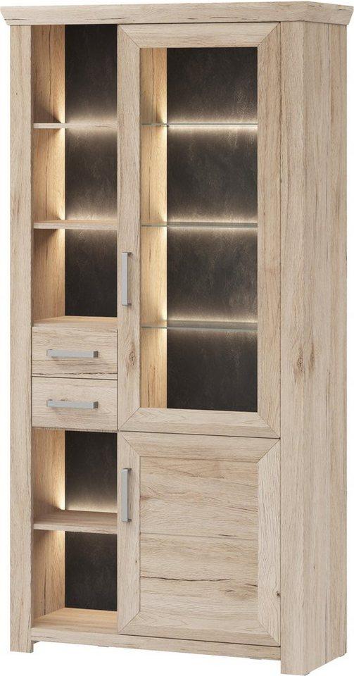 set one by Musterring Vitrinenschrank »york« Typ 06, San Remo Sand, Türen rechts in San Remo