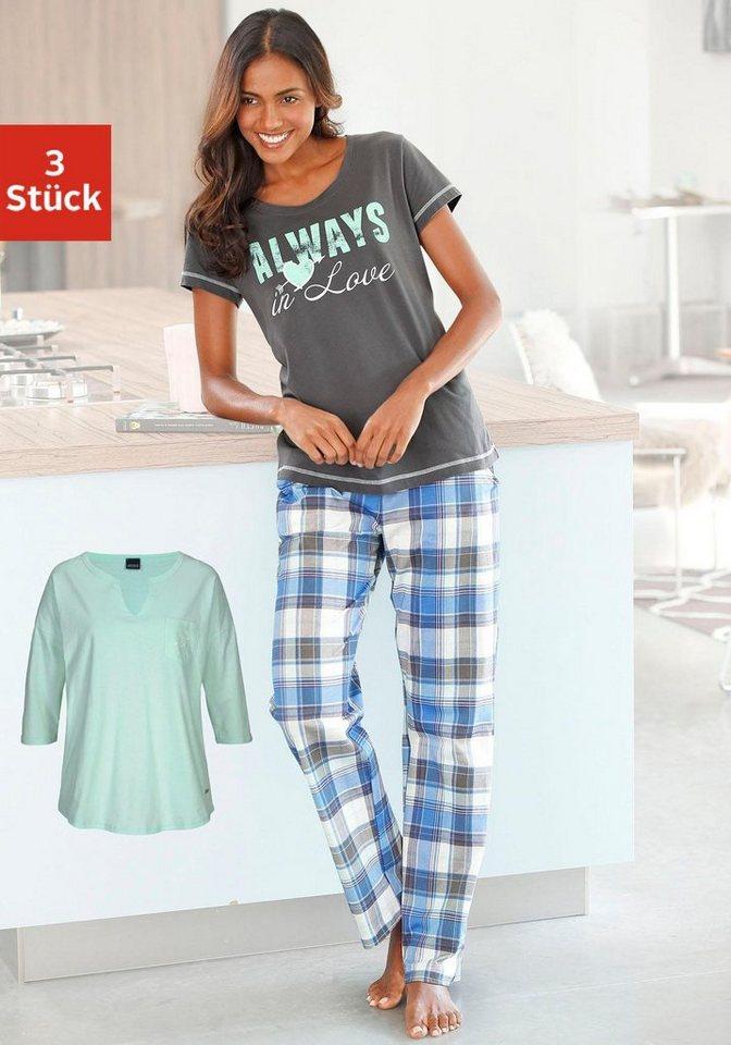 ARIZONA Pyjamaset (3 tlg.) Modernes Design mit karierter Hose in mint/anthrazit meliert/blau kariert