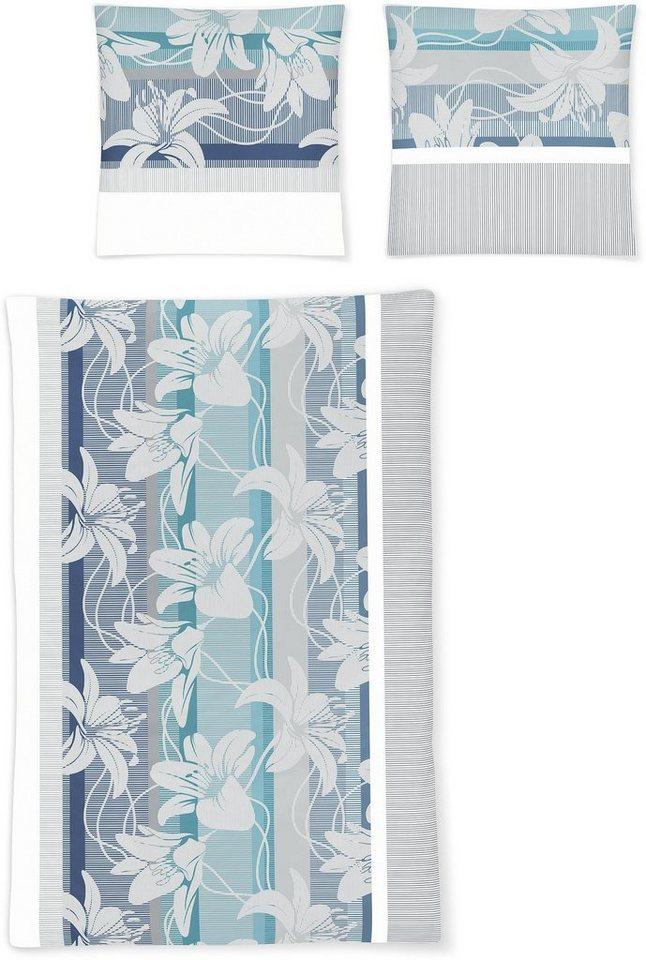 Bettwäsche, Irisette, »Luna 8495«, mit großen Blüten in blau