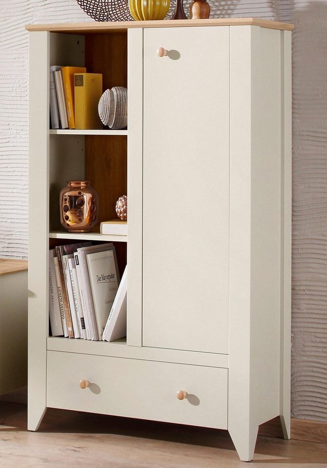 Home affaire Highboard »Landy«, Breite 99 cm in Nebelgrau/ Eiche Carmaque NB