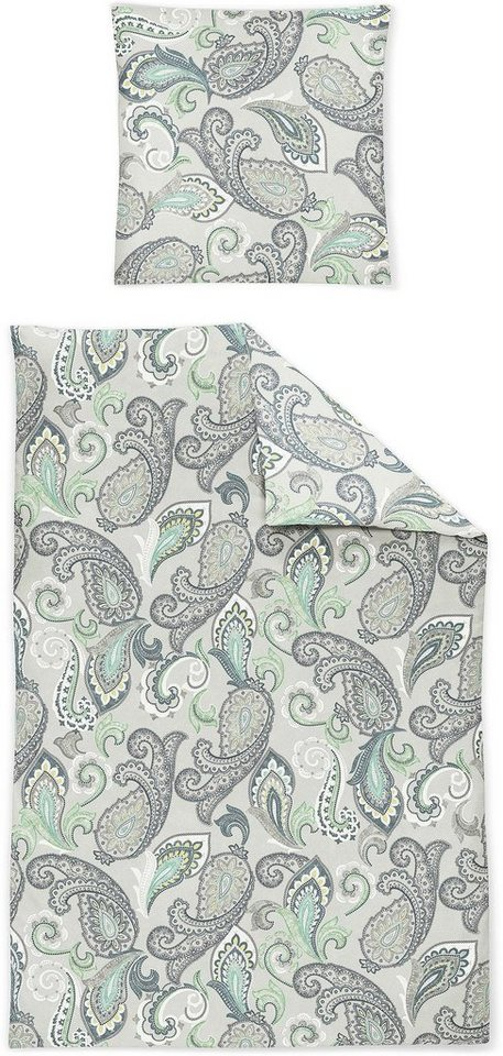 Bettwäsche, Irisette, »Capri 8501«, mit Paisley-Muster in grau