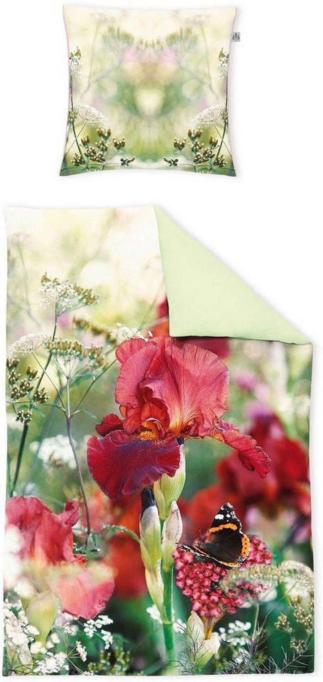 Bettwäsche, Irisette, »Juwel-K 8853«, mit Fotodruck in grün