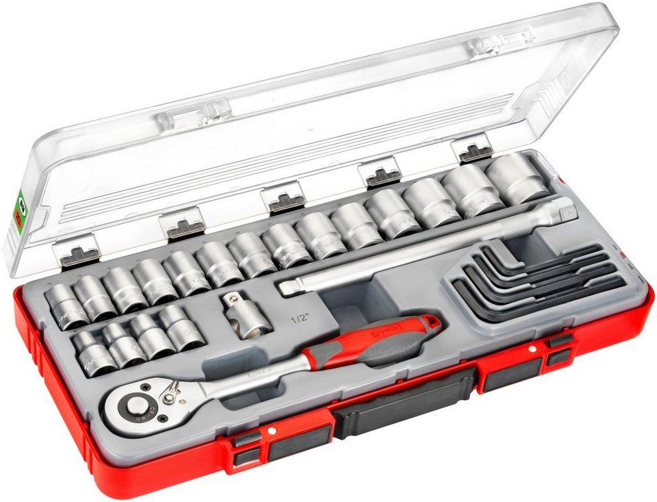 Steckschlüsselsatz »COX580225«, 25-tlg. in rot