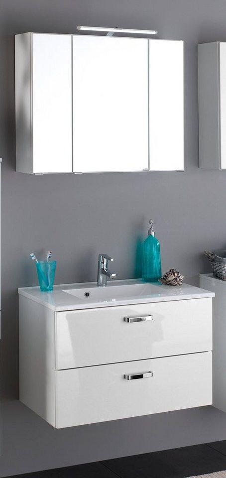 Held Möbel Badmöbel-Set »Ancona«, Breite 80 cm, 2-teilig in weiß