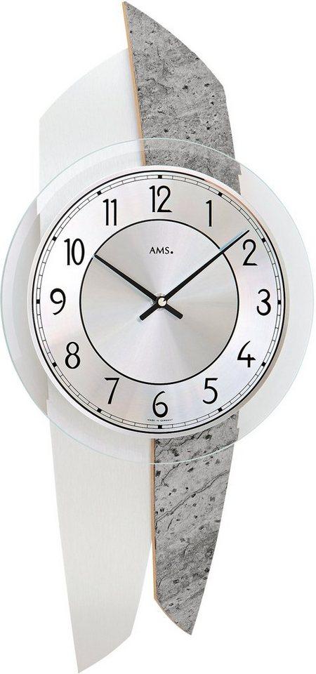 AMS Wanduhr, »W9500« in grau-silberfarben