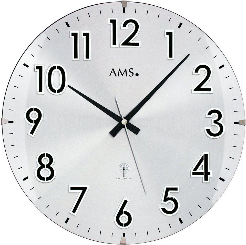 AMS Funkwanduhr, »F5973« in silberfarben