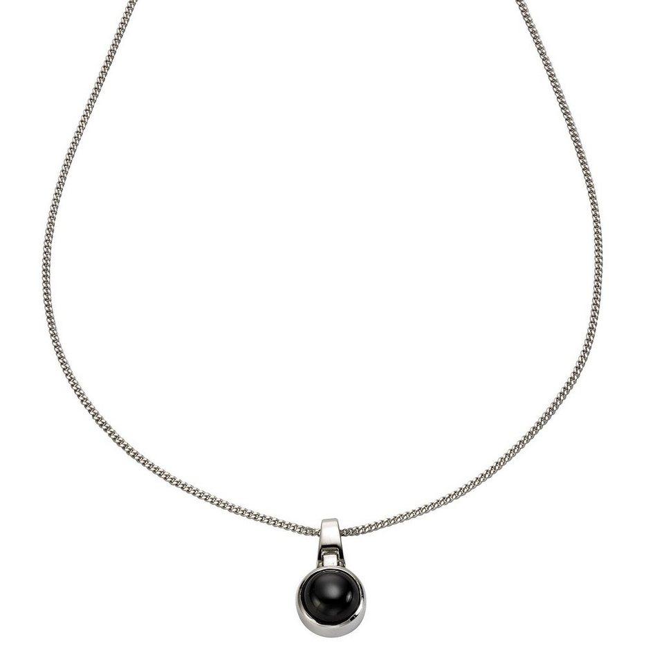 Zeeme Anhänger mit Kette »925/- Sterling Silber Zirkonia schwarz« in weiß