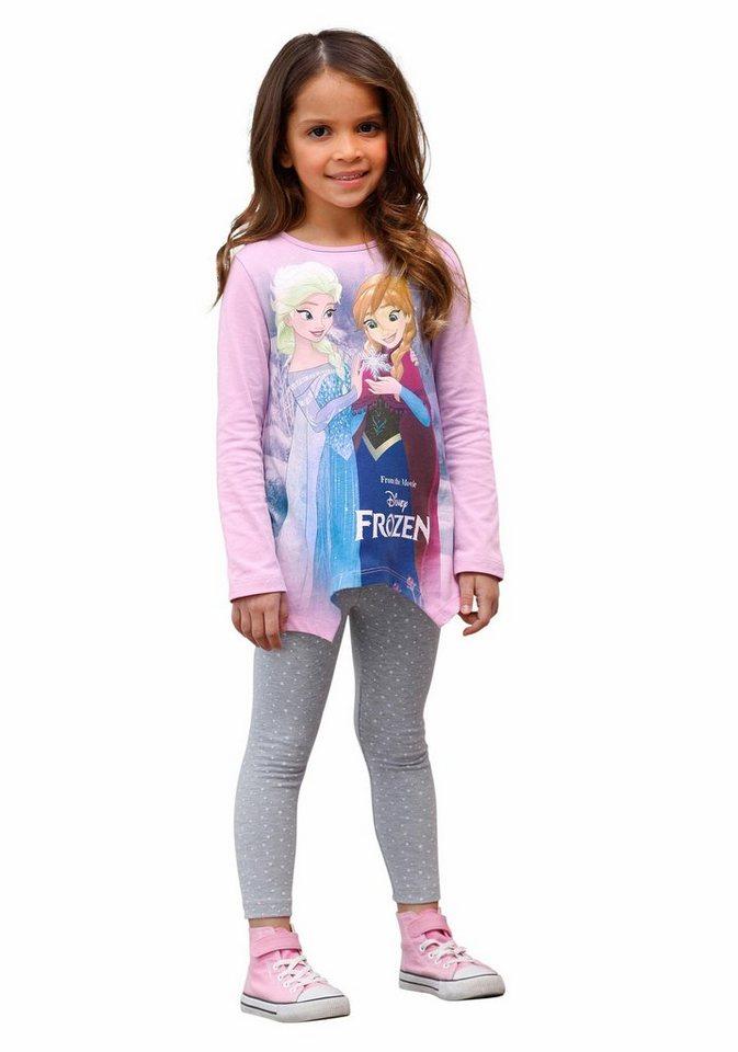 Disney Shirt & Leggings Die Eiskönigin Elsa und Anna (Set, 2-tlg.), für Mädchen in Rosa-grau