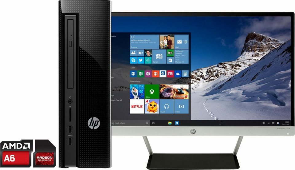hp pavilion 450 n162ngm pc set amd a6 8192 mb inkl 21 5 54 6cm full hd display online. Black Bedroom Furniture Sets. Home Design Ideas