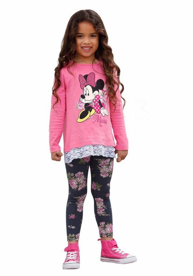 Disney Minnie Mouse (Set, 2-tlg.), für Mädchen in Fuchsia-Geblümt