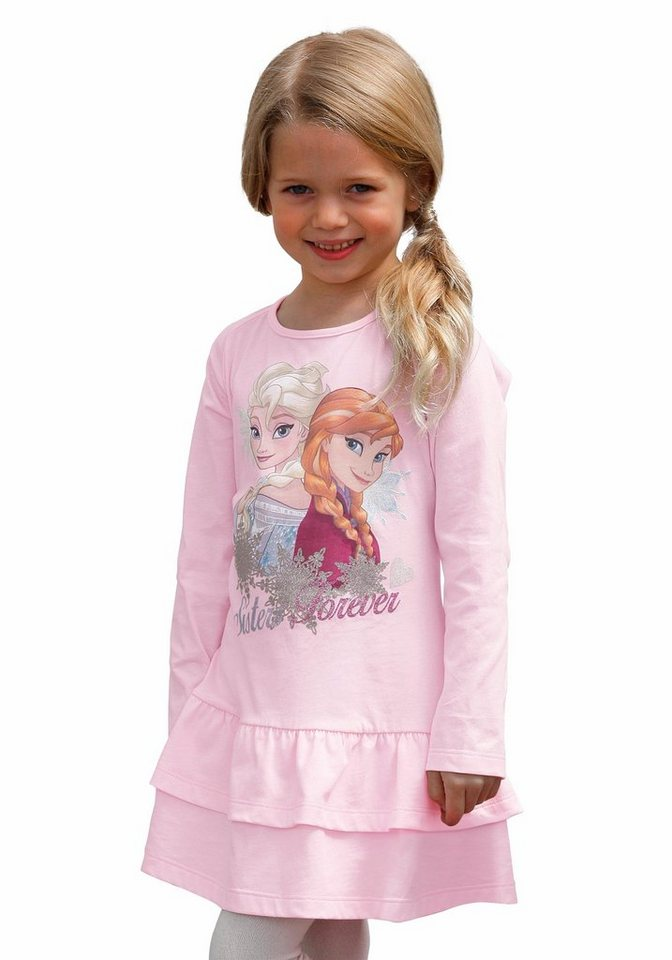 Disney Frozen Jerseykleid mit Motiven aus die Eiskönigin Elsa in rosa-bedruckt