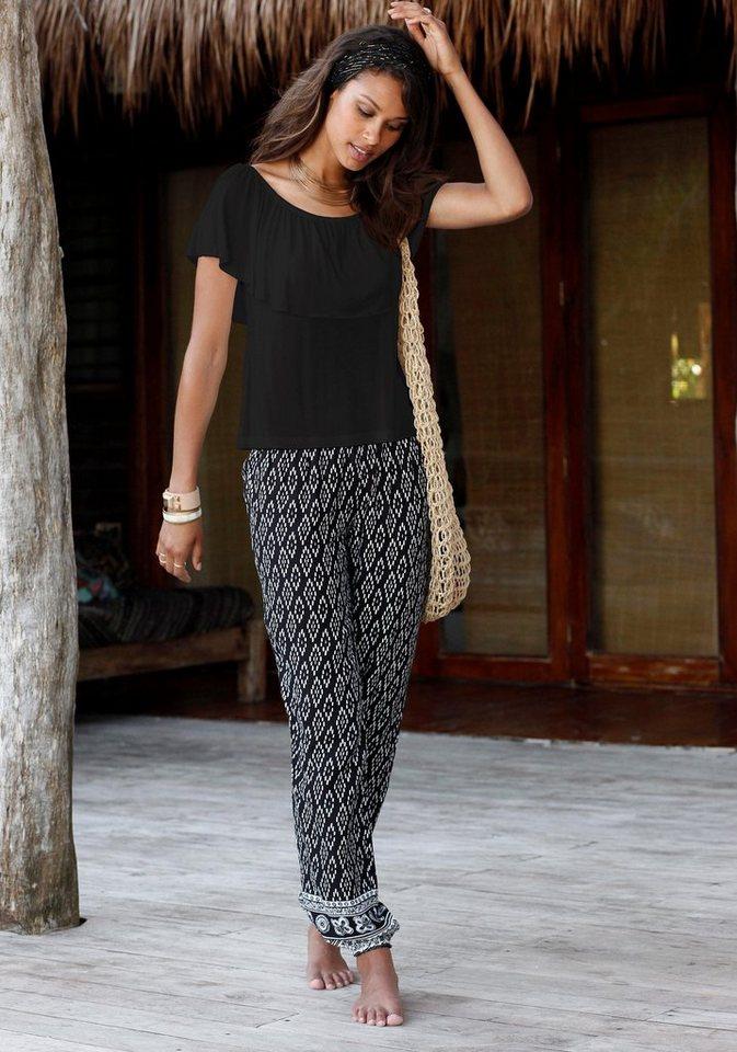 LASCANA Strandshirt mit Volant-Ausschnitt in schwarz