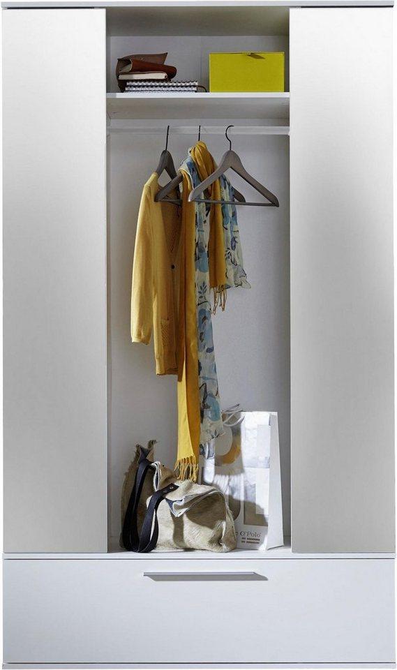 Garderobenschrank (2-trg.), mit Spiegel in weiß matt