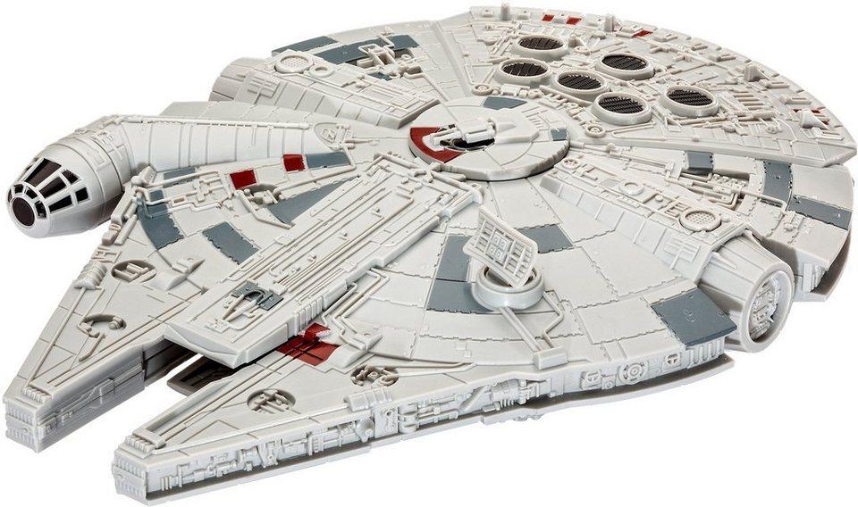 Revell® Modellbausatz Raumschiff mit Licht u. Sound, 1:164, »Disney Star Wars Millennium Falcon in grau