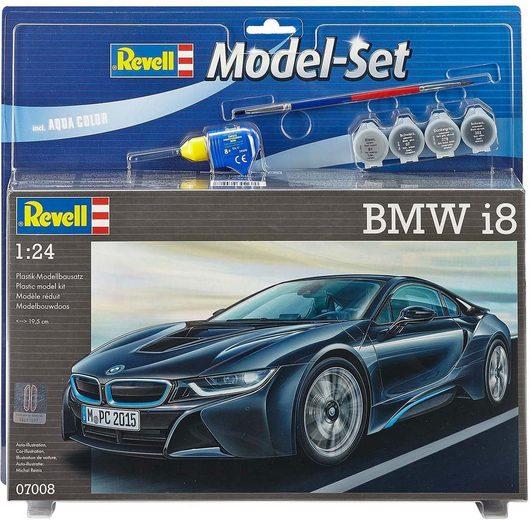 Revell® Modellbausatz »Model Set BMW i8«, Maßstab 1:24, (mit 4 Aqua Color Farben, Pinsel und Kleber), mit drehbaren Rädern