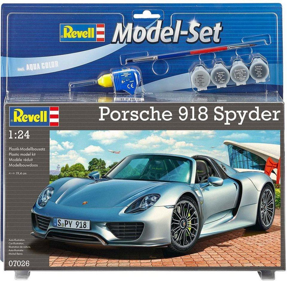 Revell® Modelbausatz Auto mit Zubehör, Maßstab 1:24, »Porsche 918 Spyder« in silberfarben