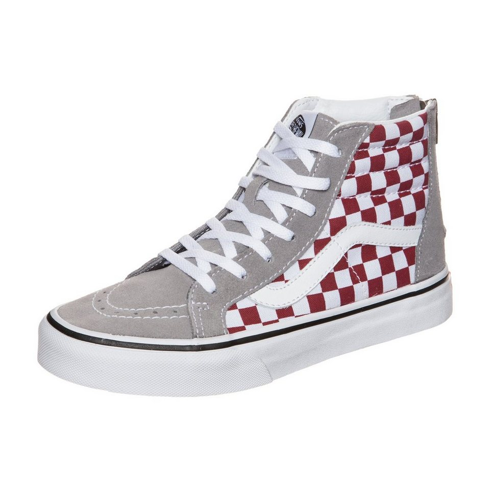 VANS Sk8-Hi Zip Checkerboard Sneaker Kinder in grau / rot / weiß